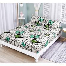 Set Husa de pat cu elastic din Bumbac Finet si 2 fete de perna fluturi si pietre 180 x 200 cm