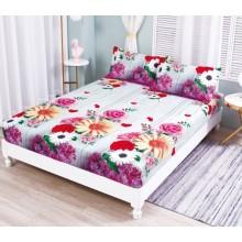 Set Husa de pat cu elastic din Bumbac Finet si 2 fete de perna floral 180 x 200 cm