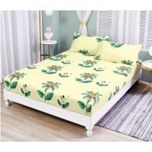 Set Husa de pat cu elastic din Bumbac Finet si 2 fete de perna flower 180 x 200 cm