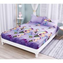 Set Husa de pat cu elastic din Bumbac Finet si 2 fete de perna flowers 180 x 200 cm