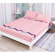 Set Husa de pat cu elastic din Bumbac Finet si 2 fete de perna pink style 180 x 200 cm