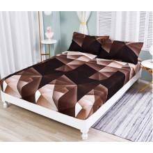 Set Husa de pat cu elastic din Bumbac Finet si 2 fete de perna geo maro 180 x 200 cm