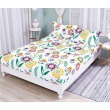 Set Husa de pat cu elastic din Bumbac Finet si 2 fete de perna Flori Multicolore 180 x 200 cm