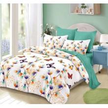 Lenjerie de pat 2 persoane Bumbac Finet 6 piese Fluturi multicolori