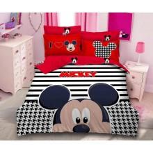 Lenjerie de pat dublu, bumbac finet premium, 6 piese, Desene animate Mickey Mouse red