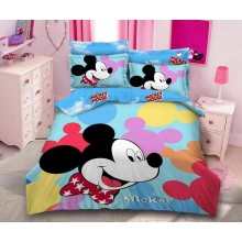 Lenjerie de pat dublu, bumbac finet premium, 6 piese, Desene animate Mickey Mouse new