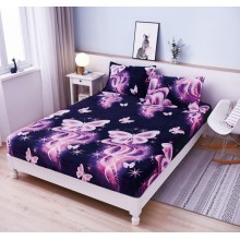 Set Husa de pat Cocolino cu elastic si 2 fete de perna pentru pat dublu 180 x 200 cm Fluturi Mov