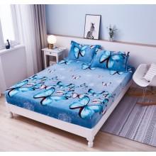 Set Husa de pat Cocolino cu elastic si 2 fete de perna pentru pat dublu 180 x 200 cm Bleu cu Fluturi