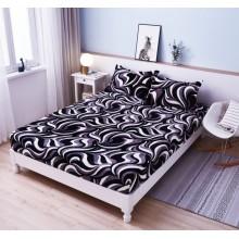 Set Husa de pat Cocolino cu elastic si 2 fete de perna pentru pat dublu 180 x 200 cm Neagra Zebrat