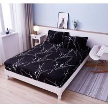 Set Husa de pat Cocolino cu elastic si 2 fete de perna pentru pat dublu 180 x 200 cm Neagra cu ramuri