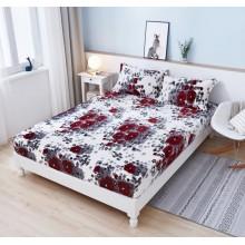 Set Husa de pat Cocolino cu elastic si 2 fete de perna pentru pat dublu 180 x 200 cm Alba cu Maci