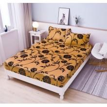 Set Husa de pat Cocolino cu elastic si 2 fete de perna pentru pat dublu 180 x 200 cm Floral