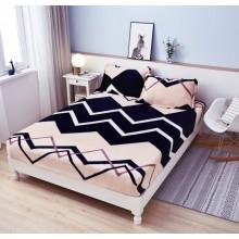 Set Husa de pat Cocolino cu elastic si 2 fete de perna pentru pat dublu 180 x 200 cm GEOMETRIC STYLE