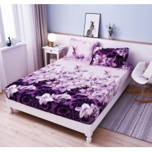 Set Husa de pat Cocolino cu elastic si 2 fete de perna pentru pat dublu 180 x 200 cm Mov cu Crini
