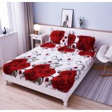 Set Husa de pat Cocolino cu elastic si 2 fete de perna pentru pat dublu 180 x 200 cm TRANDAFIRI