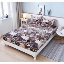 Set Husa de pat Cocolino cu elastic si 2 fete de perna pentru pat dublu 180 x 200 cm Abstract