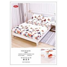 Set Husa de pat cu elastic din Bumbac Finet si 2 fete de perna Alba cu fluturi 180 x 200 cm