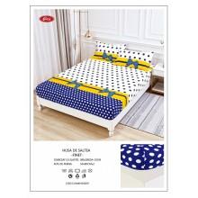 Set Husa de pat cu elastic din Bumbac Finet si 2 fete de perna Alba cu buline 180 x 200 cm