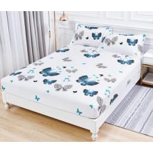 Set Husa de pat cu elastic din Bumbac Finet si 2 fete de perna Alba cu fluturi turcoaz 180 x 200 cm