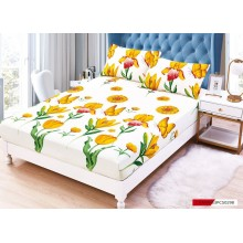 Set Husa de pat cu elastic din Bumbac Finet si 2 fete de perna Lalele galbene 180 x 200 cm