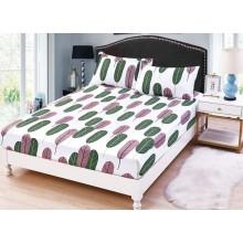 Set Husa de pat cu elastic din Bumbac Finet si 2 fete de perna Pene roz si gri  180 x 200 cm
