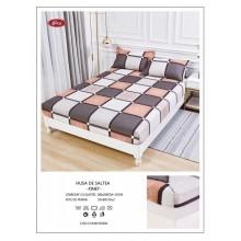 Set Husa de pat cu elastic din Bumbac Finet si 2 fete de perna Roz pudra si gri 180 x 200 cm