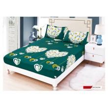 Set Husa de pat cu elastic din Bumbac Finet si 2 fete de perna Verde cu flori de musetel 180 x 200 cm