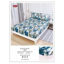 Set Husa de pat cu elastic din Bumbac Finet si 2 fete de perna Imprimeu frunze 180 x 200 cm