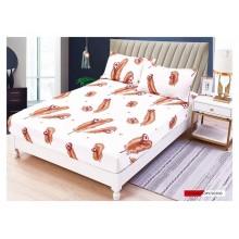 Set Husa de pat cu elastic din Bumbac Finet si 2 fete de perna Pene cu inimioare  180 x 200 cm