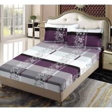 Set Husa de pat cu elastic din Bumbac Finet si 2 fete de perna Mov cu alb 180 x 200 cm