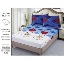 Set Husa de pat cu elastic din Bumbac Finet si 2 fete de perna Albastra cu inimi  180 x 200 cm
