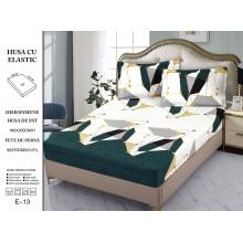 Set Husa de pat cu elastic din Bumbac Finet si 2 fete de perna Verde cu imprimeu geometric 180 x 200 cm