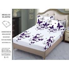 Set Husa de pat cu elastic din Bumbac Finet si 2 fete de perna Fluturi mov 180 x 200 cm