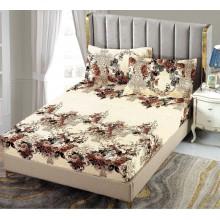Set Husa de pat cu elastic din Bumbac Finet si 2 fete de perna Crem cu flori 180 x 200 cm