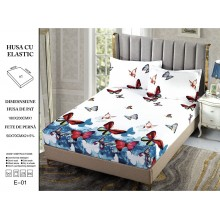 Set Husa de pat cu elastic din Bumbac Finet si 2 fete de perna Fluturi multicolori 180 x 200 cm