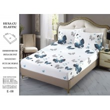 Set Husa de pat cu elastic din Bumbac Finet si 2 fete de perna Alba cu fluturi verzi 180 x 200 cm