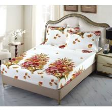 Set Husa de pat cu elastic din Bumbac Finet si 2 fete de perna Buchet de flori 180 x 200 cm