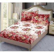 Set Husa de pat cu elastic din Bumbac Finet si 2 fete de perna Floral style 180 x 200 cm
