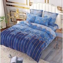 Lenjerie Pufoasa Cocolino pentru pat dublu 6 piese Romburi Albastru