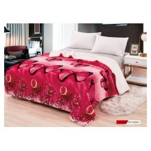 Patura Cocolino groasa cu Blanita 200 x 230 cm Rosie cu Fluturi