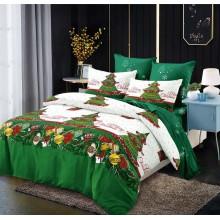 Lenjerie pentru pat dublu cu elastic, 6 piese, bumbac finet, Green Christmas