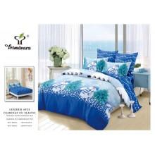 Lenjerie pentru pat dublu cu elastic, 6 piese, bumbac finet, Blue Christmas