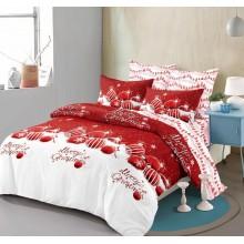 Lenjerie pentru pat dublu cu elastic, 6 piese, bumbac finet, Motive de Sarbatoare