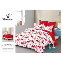 Lenjerie pentru pat dublu cu elastic, 6 piese, bumbac finet, Red & White