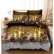 Lenjerie pentru pat dublu, 6 piese, bumbac 100% Finet, Christmas