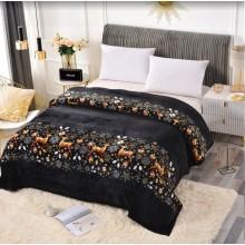 Patura Cocolino cu margine pentru pat dublu 200 x 230 cm Neagra cu Reni