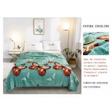 Patura Cocolino gofrata pentru pat dublu 200 x 230 Verde cu fluturi