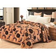 Patura Cocolino cu margine pentru pat dublu 200 x 230 Maro deschis cu flori