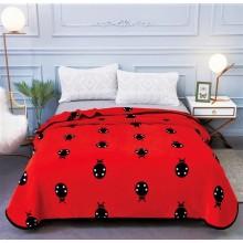 Patura Cocolino cu margine pentru pat dublu 200 x 230 Rosie cu gargarite