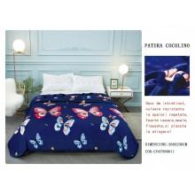 Patura Cocolino cu margine pentru pat dublu 200 x 230 Albastra cu fluturi